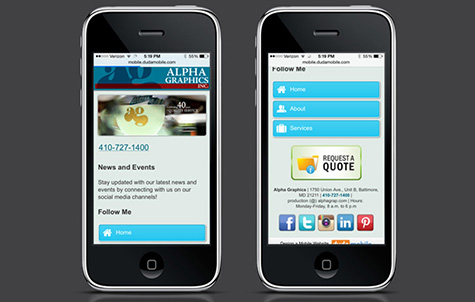 Alpha Graphics Mobile Site