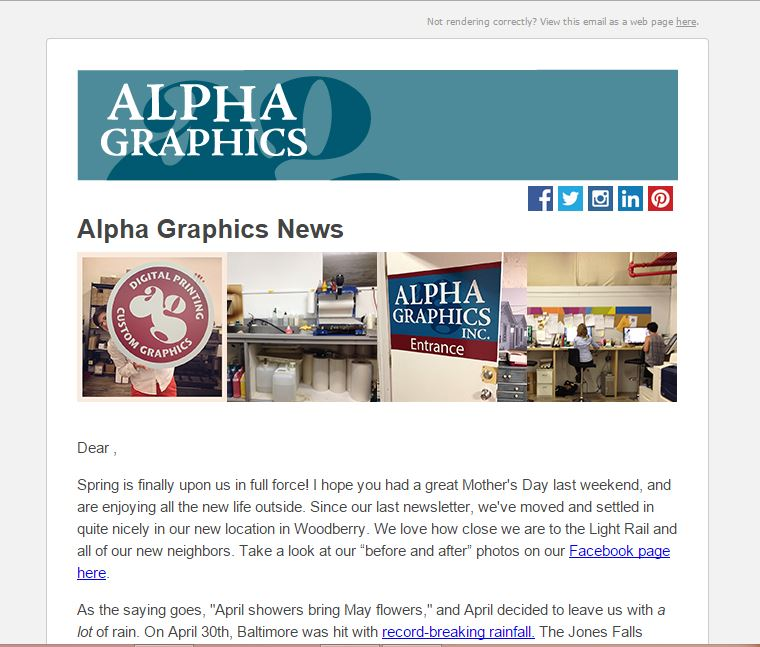 Alpha Graphics E-Newsletter Design