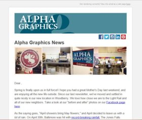 Alpha Graphics E-Newsletter Design