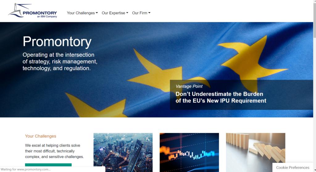 screenshot of promontory.com