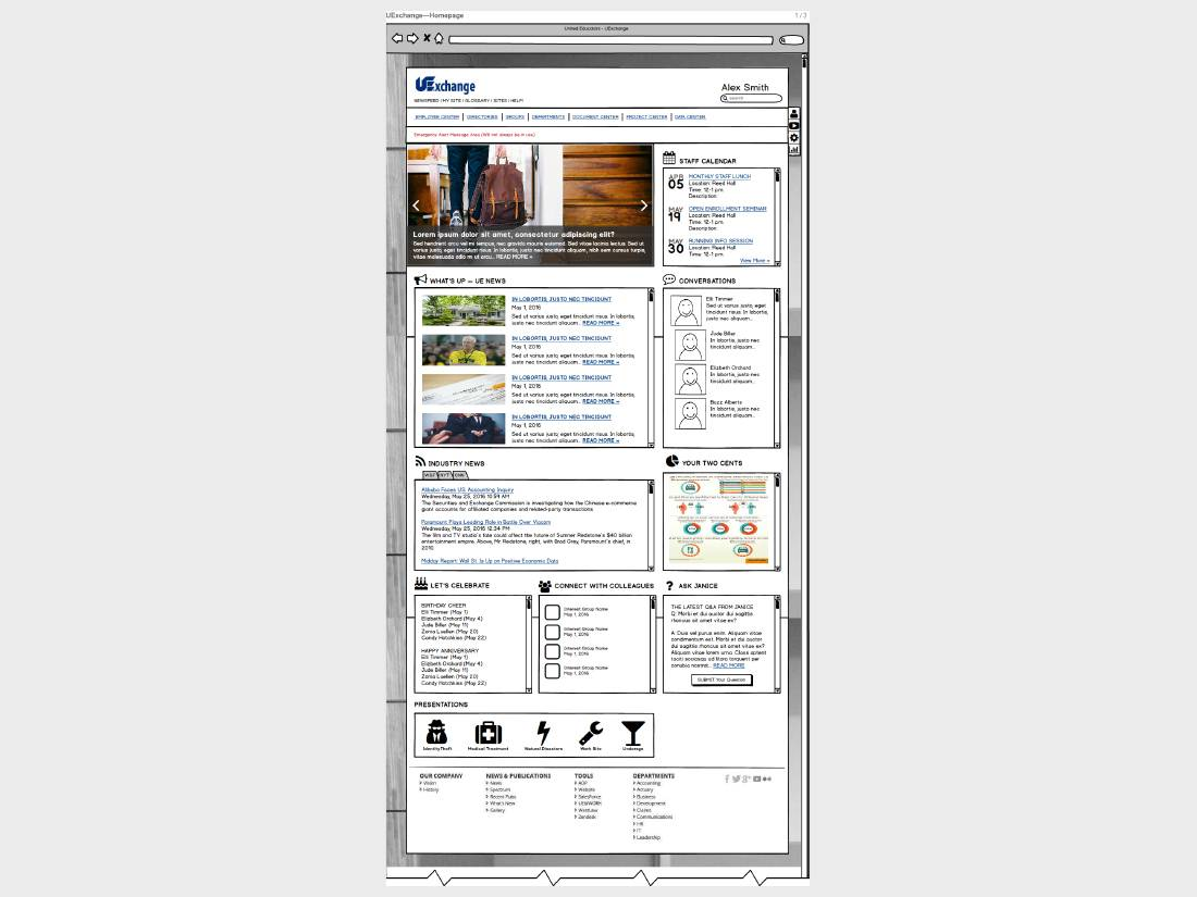 Gloria's Design - Wireframes - Balsamiq - Homepage