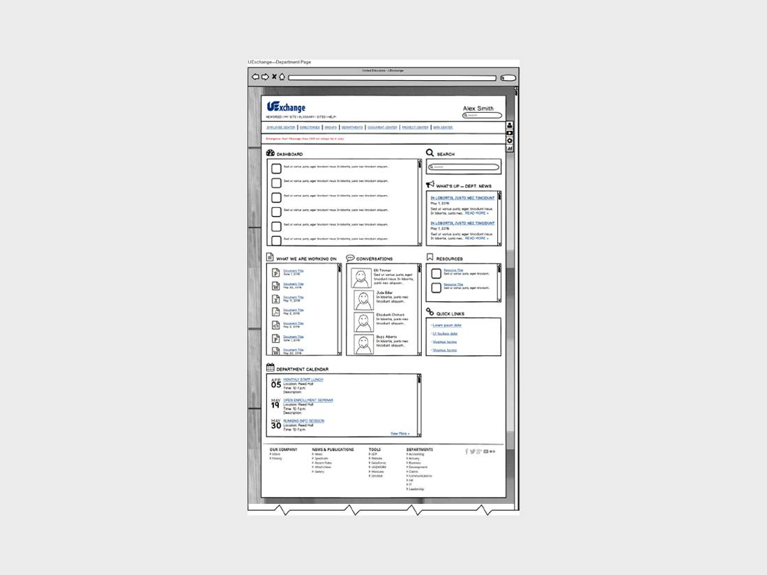 Gloria's Design - Wireframes - Balsamiq - Department Page